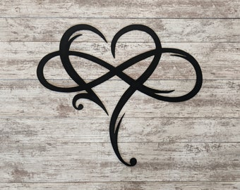 Infinity Heart Sign - Custom Metal Sign, Housewarming Gift, Entryway Sign, Rustic Handmade Made To Order