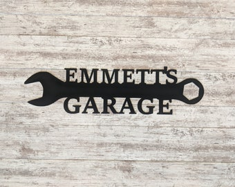 Personalized Metal Sign - Custom Garage Sign, Workshop Sign, Family Name Sign, Father's Day Gift, Men's Gift, Wrench Sign, Tool Sign