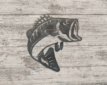 Metal Bass Sign - Perfect for your ice fishing house, lake house, or cabin! Great father's day gift! Custom metal sign, small mouth bass