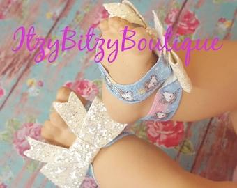 Unicorn sparkle barefoot baby sandals