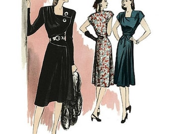 B5281 retro butterick 46 misses dress and belt 6-8-10-12. 14-16-18-20-22 uncut