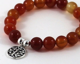 Red Carnelian Beaded Bracelet Tree of Life Charm, Fertility Bracelet, Inspirational Jewelry, Meaningful Gift for Wife, Mother in law Sister