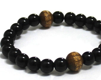 Men's Inspirational Jewelry, Chinese Words Buddhist Mantra Wood Bead Chakra Prayer Beads, Spiritual Gift, Obsidians Men Mala Beads Bracelet