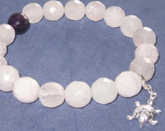 Fertility Bracelet Turtle Charm Lucky Symbol, IVF Pregnancy Jewelry, Chakra Healing Stones Amethyst Rose Quartz Beaded Bracelet Gift for Mom