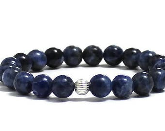 Blue Sodalite Mala Beads Beaded Bracelet, Mindfulness Worry Bracelet, Birthday Bridal Wedding Gifts for Her Sister, Mother, Chakra Yoga Gift