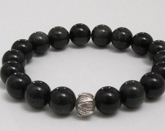 Mens Inspirational Jewelry, Lotus Obsidian Beaded Bracelet, Chakras Healing Crystals Worry Beads Mala Bracelet, Mindfulness Meaningful Gifts