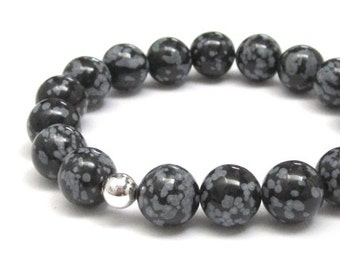 Snowflake Obsidians Women Men's Beaded Bracelet, Chakra Mala Worry Beads Yoga Gifts for Mother & Father in Law, Talisman Protection Jewelry