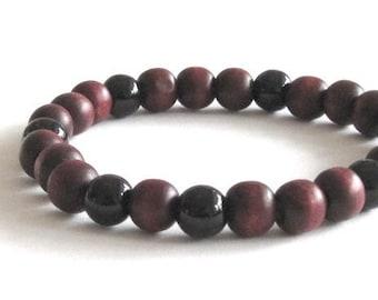 Men Wood Bracelet with Obsidians Mala Bracelet, Mens Worry Beads Bracelet, Chakra Yoga Bracelet, Zen Mindfulness Protection Healing Bracelet