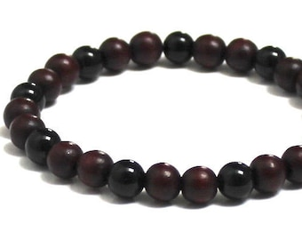 Mens Beaded Bracelet, Onyx Stones, Brown Wood Bracelet, Men Mala Bracelet, Worry Beads, Minimalist Jewelry Gift for Boyfriend, Yoga Friend