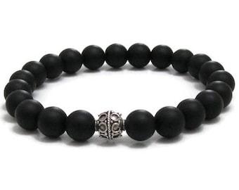 Matte Onyx Beaded Bracelet, Mindfulness Strength, Balance Mala Beads, Gift for Her Success, Protection Healing Crystals Base Chakra Bracelet