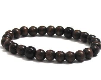 Men Wood Bracelet, Mens Beaded Bracelet, Worry Beads Dragongalss Obsidian Bracelet, Protection Jewelry, Groomsmen, Father's day Gift for Him
