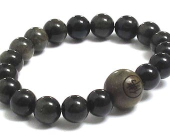 Mens Inspirational Jewelry, Obsidians Bracelet, Dragonglass Mala Beads Buddha Wood Bead Worry Beads, Chakra Bracelet Inspiring Gift for Him