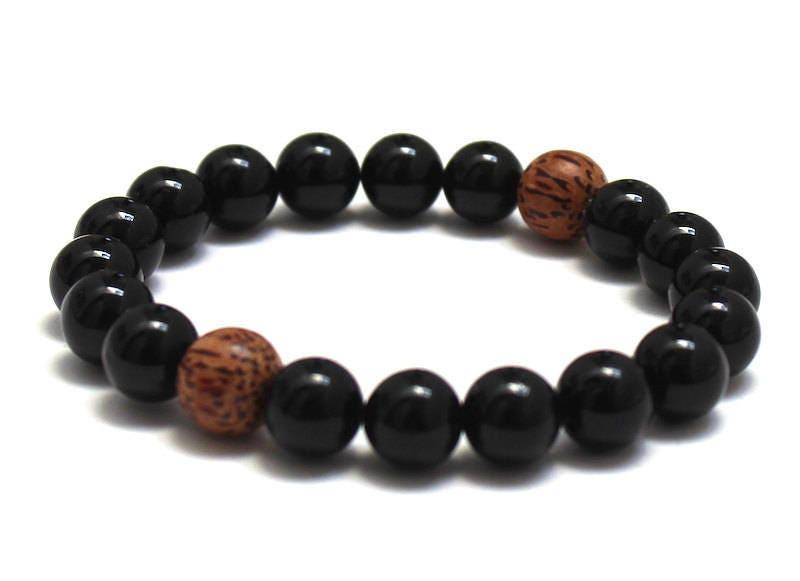 Worry Beads Black Obsidian Bracelet Dragonglass /& Palm Wood Bracelet for Mens Mala Bracelet Chakra Healing Best Seller Beaded Bracelet