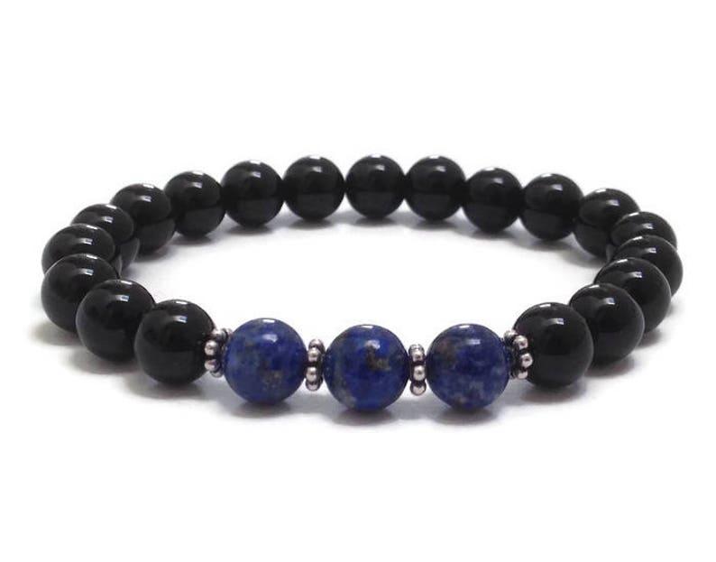 27c2cd99a Lapis Lazuli & Onyx Gemstone Beaded Bracelet Chakra Mala | Etsy