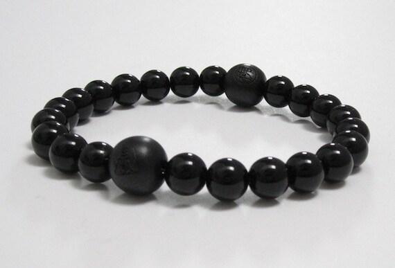 Prayer Meditation Worry Beads Dragonglass Obsidian Gemstone Bracelet with Chinese Word Buddhist Wood Guru Bead Men/'s Inspirational Jewelry