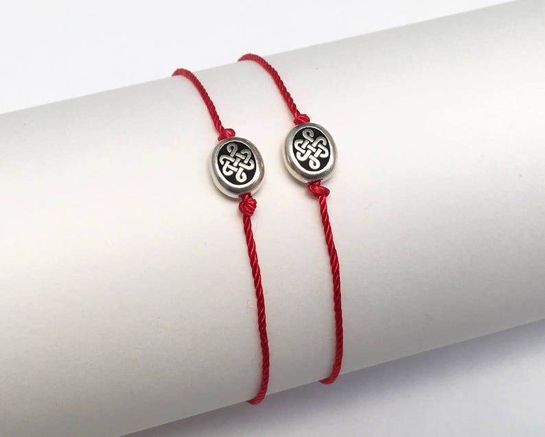 281db5395f569 Gift Set of 2 Mother and Daughter Matching Bracelets, Celtic Knot Endless  Love Symbol Natural Silk Red String Bracelet, Promise Couples Gift