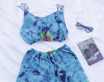 Blue Rainbow Tie Dye Print Twin Set Crop and Matching Skirt 90s Cute Festival 70s