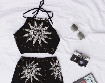 Black and Gold, Suns and Moons Print Twin Set Halter Crop and  Skirt 90s Cute Lolita 70s
