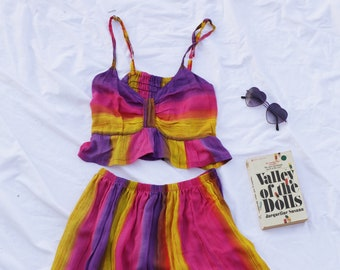 Pink Purple Yellow and Orange  Rainbow Tie Dye Print Twin Set Crop and Matching Skirt 90s Cute Festival 70s