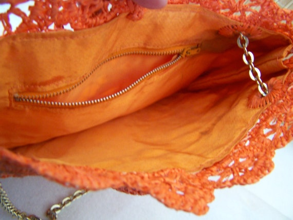 "Vintage 60's  "" ORANGE LACE PURSE "" Woven Handbag… - image 5"