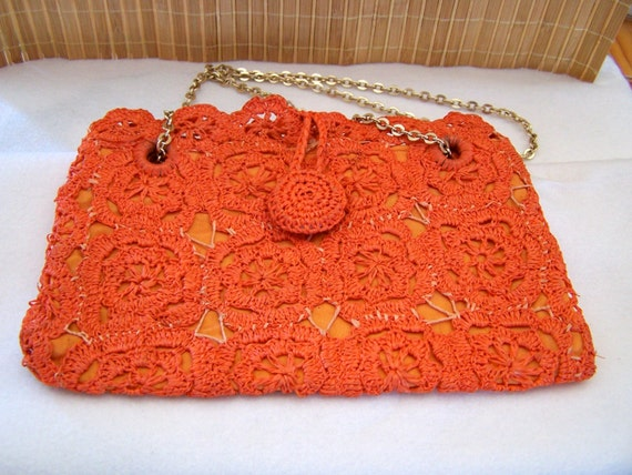 "Vintage 60's  "" ORANGE LACE PURSE "" Woven Handbag… - image 4"