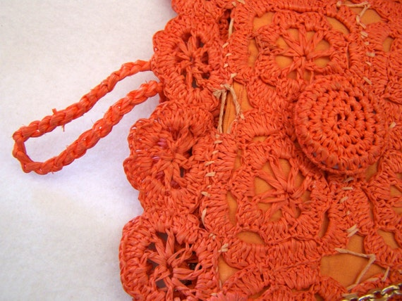 "Vintage 60's  "" ORANGE LACE PURSE "" Woven Handbag… - image 2"