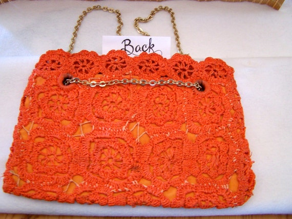 "Vintage 60's  "" ORANGE LACE PURSE "" Woven Handbag… - image 3"