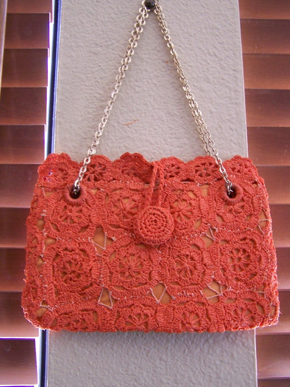 "Vintage 60's  "" ORANGE LACE PURSE "" Woven Handbag… - image 1"