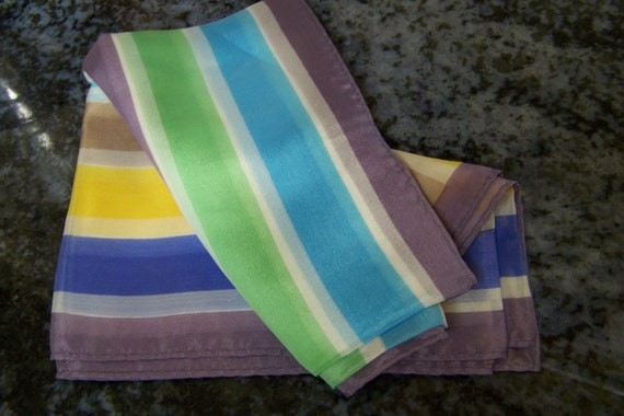 """Vintage 70's """"OBLONG SCARF"""" in Pastels Colors by K"""