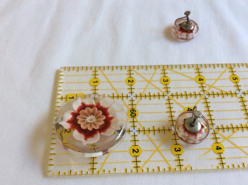 Vintage Lucite Red Rose Flower Pin and Earrings Set Mid-century