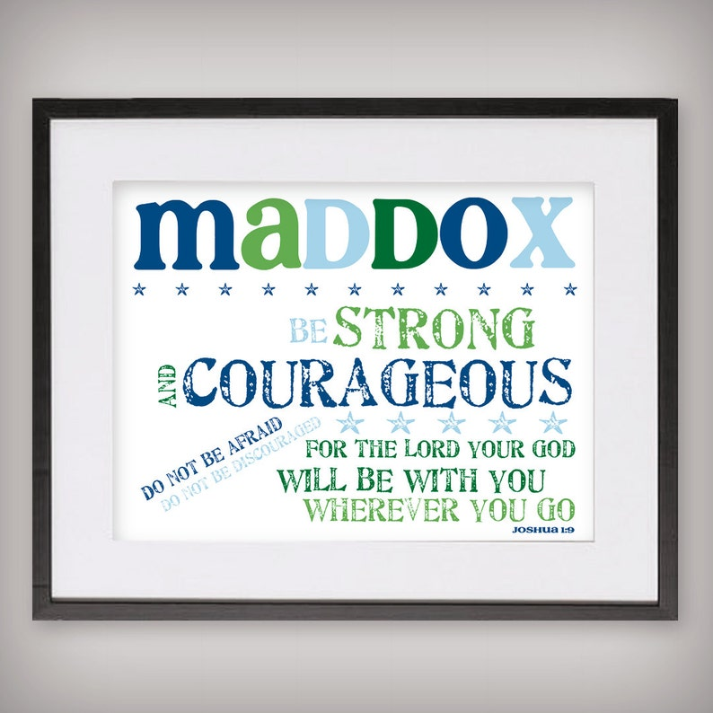 Boy's Scripture Verse Art Print  Be Strong and Courageous image 0