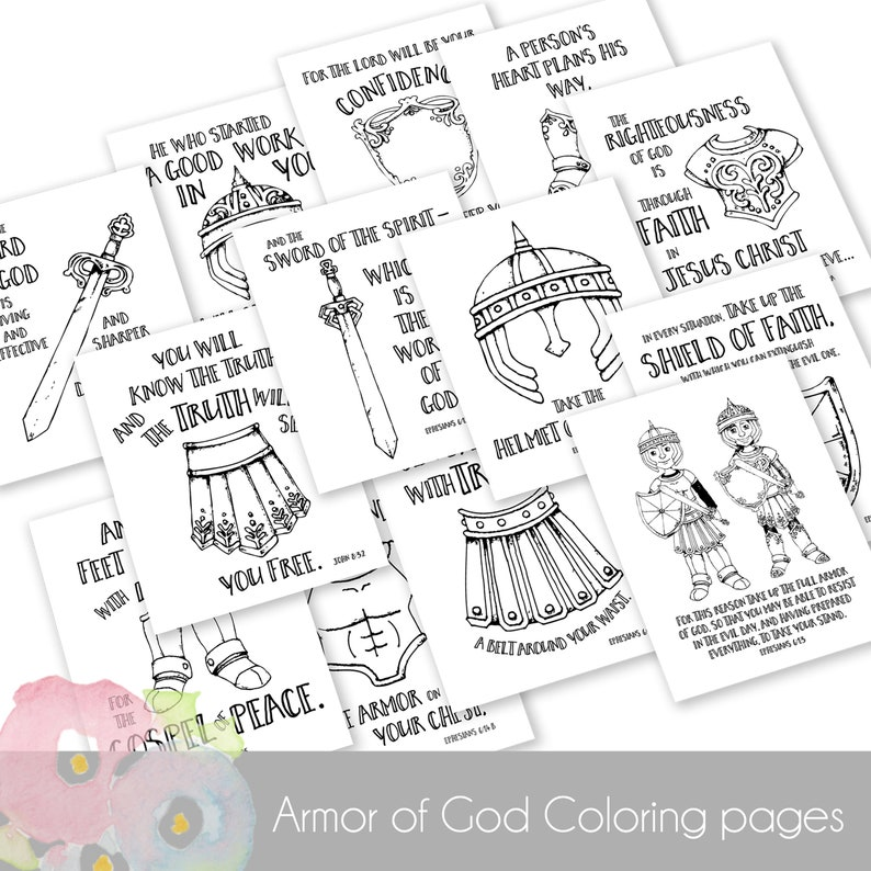 Armor of God Coloring Sheets PDF | Etsy