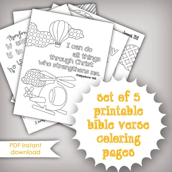 Set Of 5 Bible Memory Verse Coloring Pages For Kids Instant Etsy
