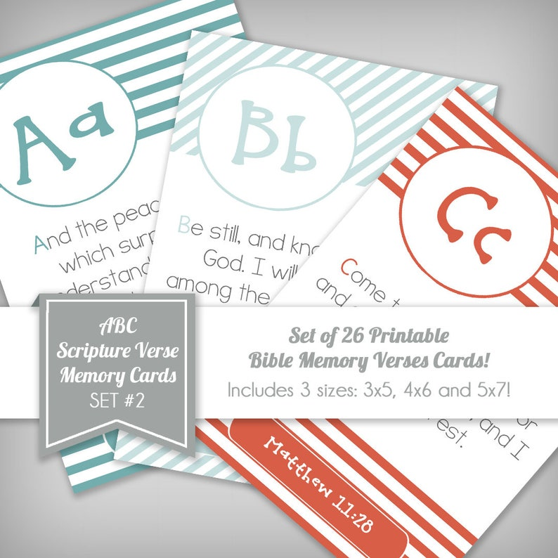 Set 2 of 26 ABC Scripture Bible Verse Memory Flash Cards for image 0
