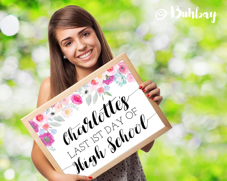 Back to School Sign. Floral Watercolor Design. Personalized image 0