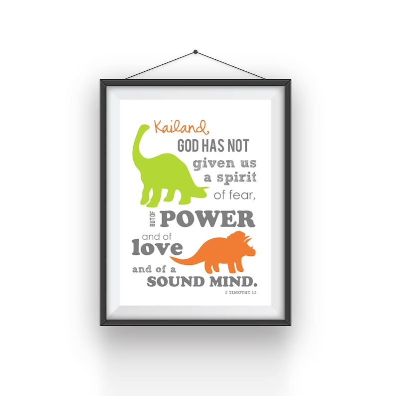 Boy's Scripture Verse Art Print  Power and Love 2 Timothy image 0