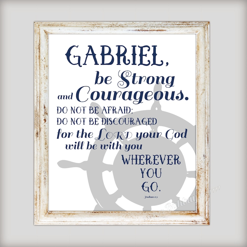Nautical Boy's Scripture Verse Art Print  Be Strong and image 0