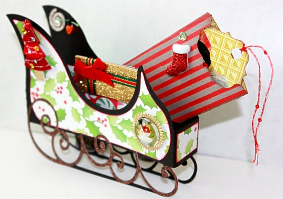 Holiday Sleigh Box Card Gift Card Holder Svg Cutting File Etsy