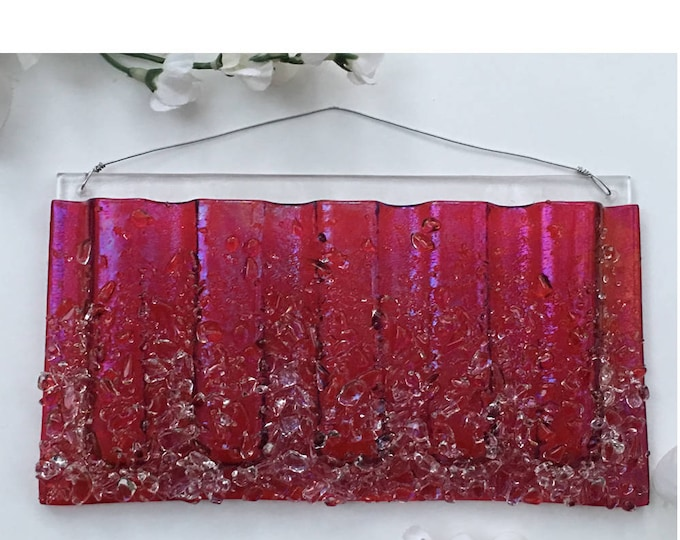 Large Horizontal. Wall Art, Fused Glass, Wall Vase, Glass Pocket.