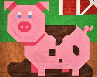 Pig Quilt Pattern in Multiple sizes - PDF