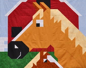 Horse Quilt Pattern in Multiple sizes - PDF