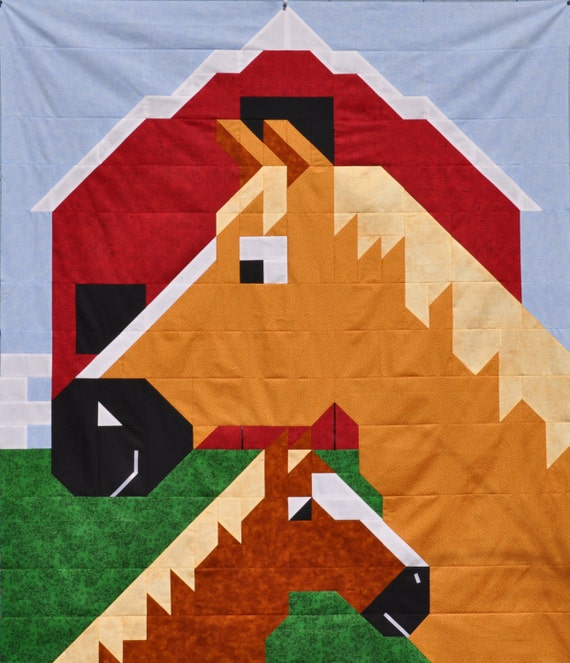 Horse Quilt Pattern In Multiple Sizes Pdf Etsy