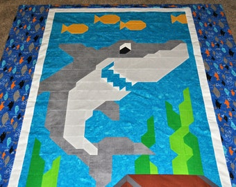 Shark Quilt Pattern for Twin Bed