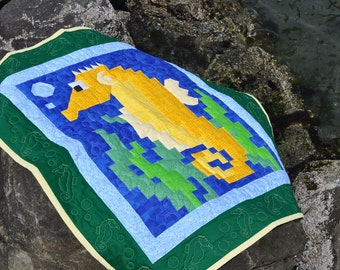 Seahorse Quilt pattern with 3 sizes - PDF