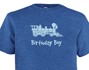 Birthday Boy Train Engine  Shirt - Kids Birthday T Shirt - Multiple Colors - Boys Shirt  - Gift Friendly - Great Train Birthday Party Shirt