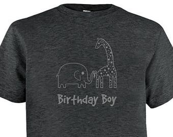 Birthday Shirt Elephant and Giraffe Kids Safari Jungle Birthday Boy Tee - Zoo Animals - Kids Tshirt PolyCotton Blend / Gift Friendly