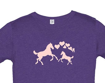 Girls Horse and Hearts Shirt - Cute Hearts for Girls - Love Ponies Cowgirl Tee - Great Present for Girl - Cute Valentines or Birthday Gift