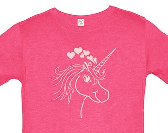 Girls Unicorn and Hearts Shirt - Cute Hearts for Girls - Love Unicorns Tee - Great Present for Girl - Cute Valentines or Birthday Gift