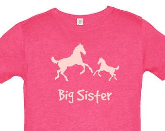 Big Sister Shirt Horse Pair Birthday Girl T Shirt Pony Horses Tee - Cowgirl Top - Kids Tshirt - Gift Friendly - PolyCotton Blended Tee