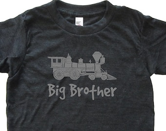 Train Engine Big Brother Tshirt - Kids Train Shirt - Tee - Youth Boy Shirt / Super Soft Kids Tee Sizes 2T 4T 6 8 10 12 - Heather Black